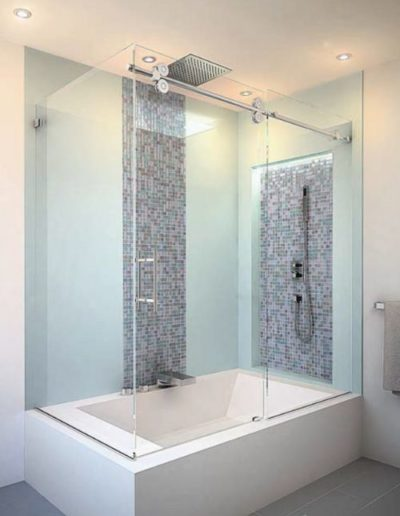 Frameless By-pass Glass Shower Enclosure with Return Panel