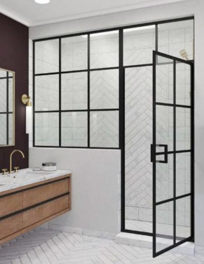 Framed Grid Glass Shower Door and Panel