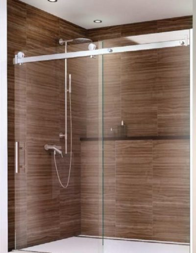 Frameless By-Pass Glass Shower Doors on Stainless Rail